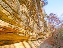 De muur van de rots langs een wildernissleep Stock Foto