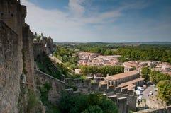 De Muur van de Stad van Carcassonne Stock Afbeeldingen