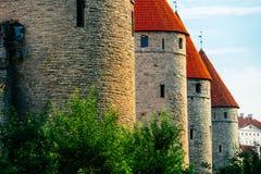 De Muur van de stad van Tallinn, Estland Stock Afbeeldingen