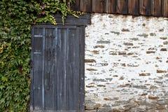 De muur van de steen met doorstane deur en klimop Royalty-vrije Stock Afbeelding