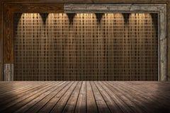De muur van de stromat en houten vloer stock afbeeldingen