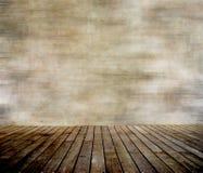 De muur van Grunge en hout met panelen beklede vloer Stock Fotografie