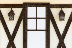 De muur van het huis met Vensters Royalty-vrije Stock Fotografie