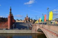 De muur van het Kremlin en rivier, Moskou, Rusland Royalty-vrije Stock Afbeelding