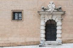 De muur van het vestingskasteel van een middeleeuws kasteel Bojnice, Slowakije, stock foto