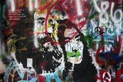 De muur van Lennon in Praag stock afbeelding