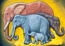 De muurdecoratie van het beeldhouwwerk van olifant Royalty-vrije Stock Foto's