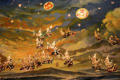 De muurschilderijen vertellen het verhaal van Boeddhisme stock fotografie