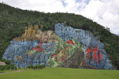 De muurschildering DE La Prehistoria, Vinales, Cuba Stock Foto's