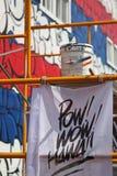 De muurschildering van de muurkunst in rood, wit en blauw Stock Afbeelding