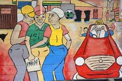De muurschildering vertelt het verhaal van Swakopmund Stock Foto