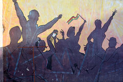 De muurschildering vertelt het verhaal van Swakopmund Stock Fotografie