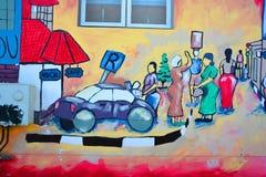 De muurschildering vertelt het verhaal van Swakopmund Stock Foto's