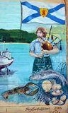 De muurschildering vertelt verhaal van acadiansmensen Royalty-vrije Stock Foto's
