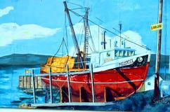 De muurschildering vertelt verhaal van acadiansmensen Stock Fotografie