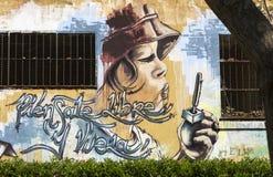 De muurschilderingen van de straatkunst door de Spaanse kunstenaar van de graffitimuurschildering in Montjuic-Park, Barcelona, Sp Royalty-vrije Stock Afbeeldingen