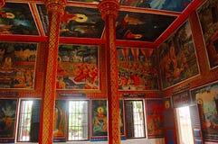 De muurschilderingen in Wat Preah Prom Rath, Siem oogsten stock foto's