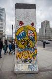 De muurstuk Duitsland van Potsdamer platz Berlijn Stock Foto's