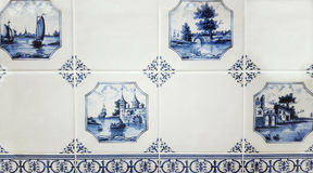 De muurtegels van Delft van Gzhel Stock Foto