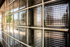 De muurtextuur van het glasblok Stock Foto