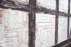 De muurtextuur van het huis bouwde de stijl van helft-betimmerd in, abstractie, antiquiteit, stijl in architectuur, Duitsland stock afbeelding