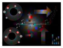 De muziek, disco themed ontwerpachtergrond Royalty-vrije Stock Fotografie