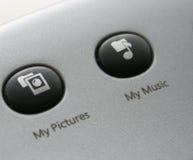 De muziek en de beeldenpictogrammen van het toetsenbord Stock Afbeeldingen