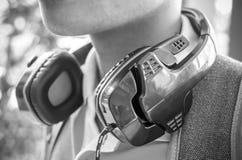 De muziek en de oortelefoons Stock Afbeeldingen