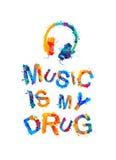 De muziek is mijn drug stock illustratie