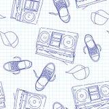 De muziek naadloos patroon van de hiphop Stock Afbeelding