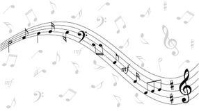De muziek neemt nota van achtergrond Stock Fotografie