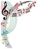 De muziek neemt nota van achtergrond, modieuze muzikale themasamenstelling, vecto Stock Afbeeldingen