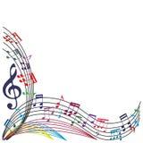 De muziek neemt nota van achtergrond, modieuze muzikale themasamenstelling, vecto Royalty-vrije Stock Afbeeldingen