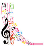 De muziek neemt nota van achtergrond, modieuze muzikale themasamenstelling, vecto Royalty-vrije Stock Foto's