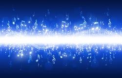 De muziek neemt nota van Blauwe Achtergrond Stock Foto