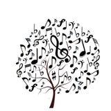 De muziek neemt nota van boom Stock Fotografie