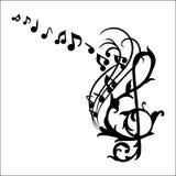 De muziek neemt nota van de Vectorillustratie van het Muuroverdrukplaatje Stock Foto
