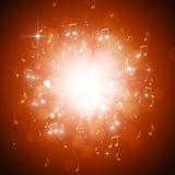 De muziek neemt nota van Explosie Stock Foto's