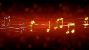 De muziek neemt nota van het fonkelen als sterren op rode achtergrond, hartstochtelijk Romaans liefdelied Stock Foto
