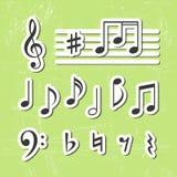 De muziek neemt nota van pictogrammen Stock Foto
