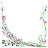 De muziek neemt nota van samenstelling, modieuze muzikale themaachtergrond, vecto Royalty-vrije Stock Afbeelding