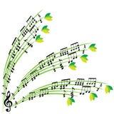 De muziek neemt nota van samenstelling, modieuze muzikale themaachtergrond, vecto Royalty-vrije Stock Foto's