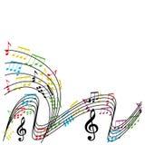 De muziek neemt nota van samenstelling, muzikale themaachtergrond, vector illust Stock Afbeeldingen