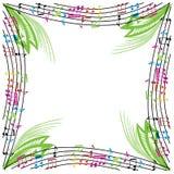 De muziek neemt nota van samenstelling, muzikale themaachtergrond, vector illust Stock Foto