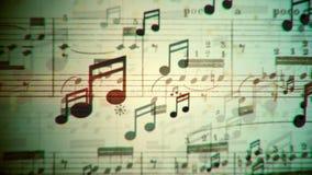 De muziek neemt nota van stromende lijn stock video