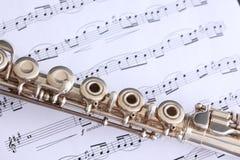 De Muziek van de fluit en van het Blad Stock Foto