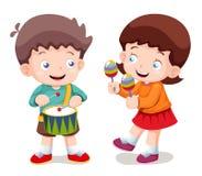 De muziek van de jongen en van het meisje Stock Foto