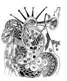 De muziek van de krabbelskunst op oceaan Royalty-vrije Stock Afbeeldingen