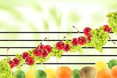 De muziek van de Symfonie van het fruit Stock Afbeeldingen