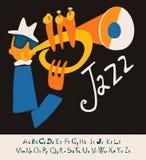 De muziek van het ACHTERGROND JAZZoverleg Illustratie met doopvont Royalty-vrije Stock Afbeelding